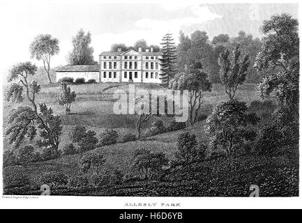 An engraving of Allesly Park, Warwickshire scanned at high resolution from a book printed in 1812. Believed copyright - Stock Photo