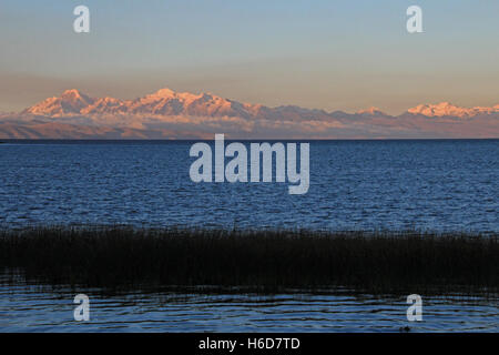 Cordillera real mountain range at sunset behind Titicaca lake - Stock Photo