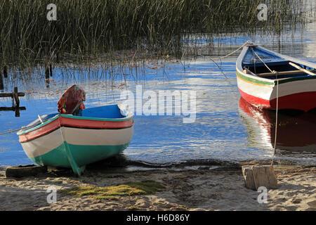 Boats on lake Titicaca, Island of the sun - Stock Photo