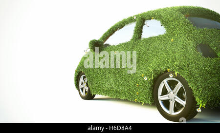 Concept of the eco-friendly car - 3d rendering - Stock Photo