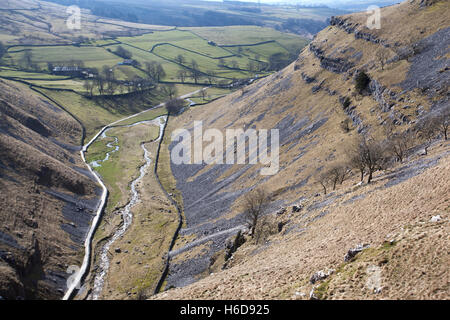 View over Gordale Beck from above Gordale Scar, Malham, Malhamdale, Yorkshire Dales, UK - Stock Photo