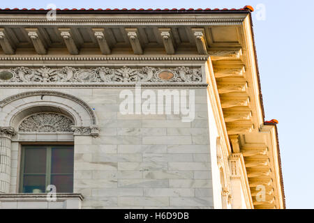 Architectural Detail of Neo Classical Corner roof line corner decoration on building in Savannah GA - Stock Photo
