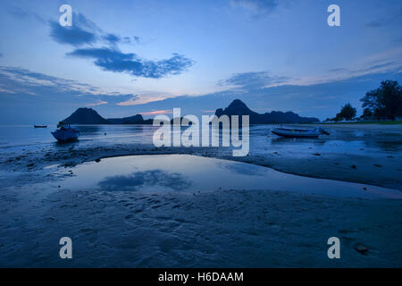 The Gulf of Thailand at blue hour, Prachuap Khiri Khan, Thailand - Stock Photo