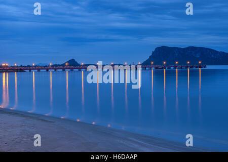 Fishing pier at blue hour, Prachuap Khiri Khan, Thailand - Stock Photo