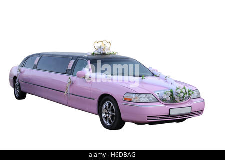 Pink wedding limousine separately on a white background - Stock Photo