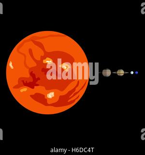Vector solar system planets to scale - Stock Photo