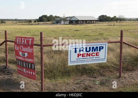 Sign on a Texas ranch fence supporting Republican presidential and vice presidential candidates Donald Trump and Mike Pence
