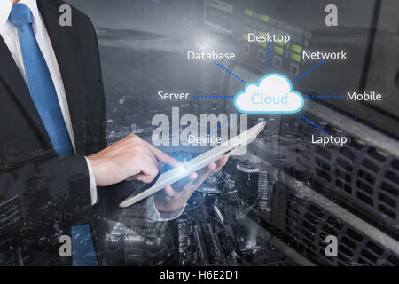 Double exposure of professional businessman connecting cloud Internet smart phone with servers technology and connect - Stock Photo
