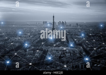 Smart city scape and network connection concept, wireless signal of internet in business city. Internet connection. - Stock Photo