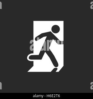 Icon emergency exit. Human Symbol running out of the building. Stock Photo