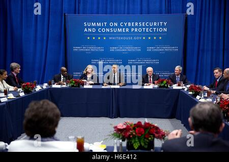 U.S. President Barack Obama participates in the Summit on Cybersecurity and Consumer Protection at Stanford University - Stock Photo