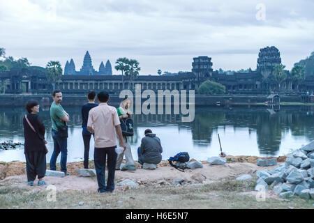 Dawn Angkor Wat Cambodia - Stock Photo