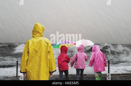 Rainy day on the sea - Stock Photo