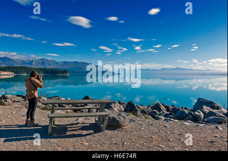 Lake Pukaki fed by the Tasman River, from Tasman and Hooker Glaciers, close to Aoraki / Mount Cook, New Zealand - Stock Photo