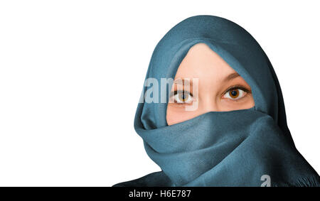 Portrait of young, friendly woman with veil - isolated on white background - Stock Photo