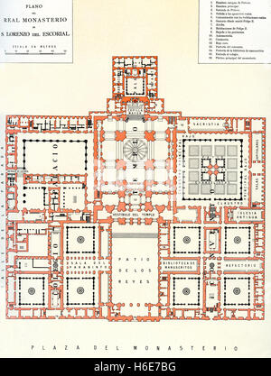 A plan of The Royal Site of San Lorenzo de El Escorial, Madrid, Spain, commonly known as El Escorial.  Monasterio - Stock Photo