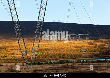 High tension power lines in Landscape, East Iceland, North Atlantic, Europe - Stock Photo