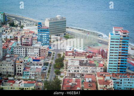 Aerial view of Le Vedado Havana Cuba - Stock Photo