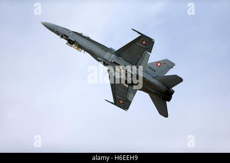 Swiss Air Force McDonnell Douglas F/A-18C Hornet, J-5009 (cn 1343/SFC009), takes off at the Royal International - Stock Photo