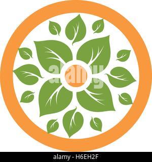 Eco orange tree logo template, abstract icon Stock Photo ...