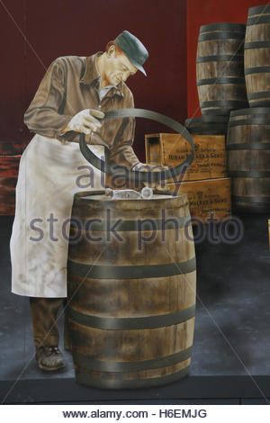 Mural on a building in downtown Windsor, Ontario, Canada depicting a worker in the Hiram-Walker distillery. - Stock Photo