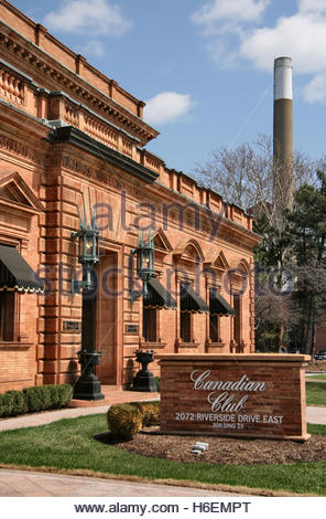 Hiram Walker and Sons Canadian Club distillery main building in Windsor, Ontario, Canada. - Stock Photo