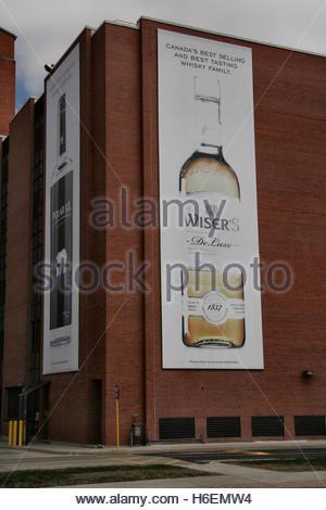 Hiram Walker and Sons distillery building in Windsor, Ontario, Canada. - Stock Photo