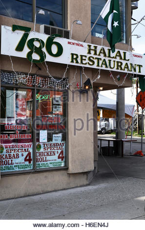 The 786 Pakistani Halal restaurant in Toronto, Canada. 786 is a holy number, representing Allah, for Pakistanis. - Stock Photo
