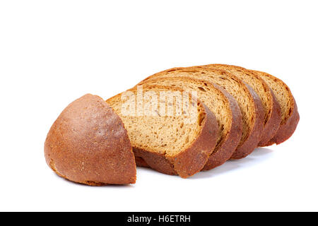 Loaf of bread sliced on white - Stock Photo