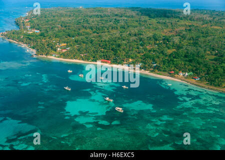 aerial view of Corn Island on Nicaragua caribbean - Stock Photo
