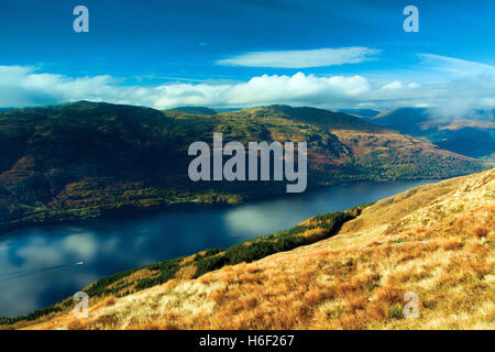 Loch Lomond and the Luss Hills from Ptarmigan Ridge, Ben Lomond, Loch Lomond and the Trossachs National Park, Stirlingshire - Stock Photo