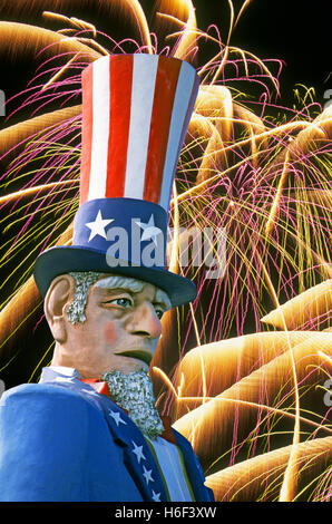 July 4, 2016: A portrait of uncle Sam during a fireworks show on the Fourth of July. - Stock Photo