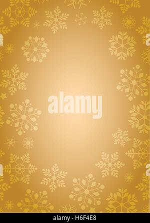 A4 size gold background with winter snowflakes border in vector format