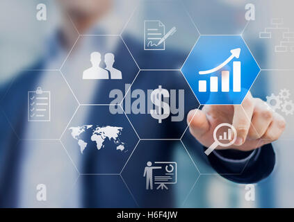Boost your business concept. Businessman touching buttons with solutions to increase profit and get success - Stock Photo