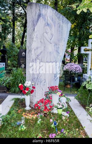 Moscow, Russia -September 10,2016: Novodevichye Cemetery. Grave to ballerina Galina Ulanova - Stock Photo