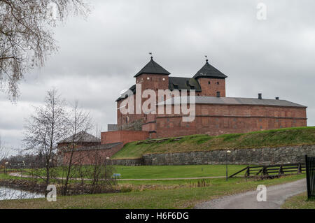 The view of the old fortress-prison cloudy autumn day. Hameenlinna, Finland - Stock Photo
