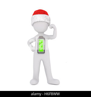 Single isolated strong 3D figure in red and white Christmas hat with fully charged battery symbol on chest - Stock Photo