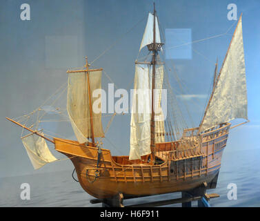 Age of Discovery. Caravel ship. Used by oceanic exploration voyages during the 15th and 16th centuries. Model. Norwegian - Stock Photo
