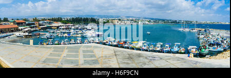 Panorama of the port with many fishing boats and yachts, made from the medieval castle, Paphos, Cyprus. - Stock Photo