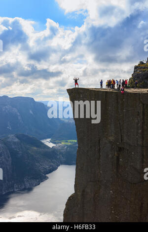 Preikestolen (English: Pulpit Rock) is a famous tourist attraction in Rogaland county, Norway - Stock Photo