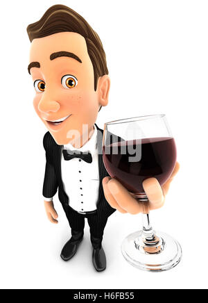 3d waiter holding glass of red wine, illustration with isolated white background - Stock Photo