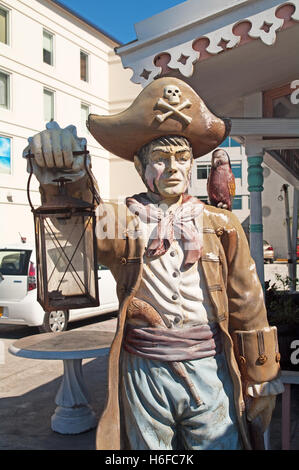 George Town, Grand Cayman, Cayman Islands, Caribbean, West Indies, Pirate Statue - Stock Photo