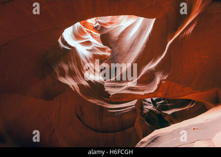Amazing light and sandstone patterns in the Antelope canyon, Utah - Stock Photo