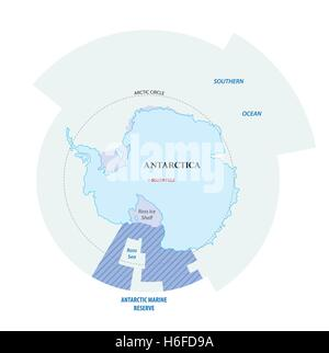 Map of the Antarctic with the new sea protection area in the Ross Sea - Stock Photo