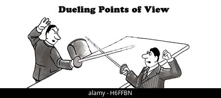 Black and white illustration of two men dueling, 'dueling points of view'. - Stock Photo