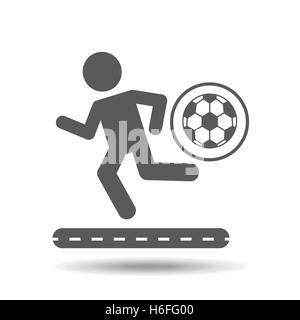 man silhouette running with ball soccer icon vector illustration eps 10 - Stock Photo