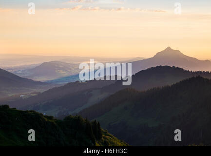 View from Riedberger Horn to Grünten, morning light, Hörnergruppe, Upper Allgäu, Allgäu, Swabia, Bavaria, Germany - Stock Photo