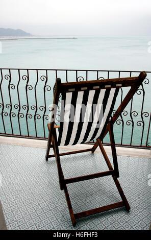 Balcony with seaview of Vietri sul Mare, Costiera Amalfitana, Salerno, Campania, Italy, Europe - Stock Photo