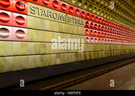 Staromestska Metro station, Prague, Czech Republic - Stock Photo