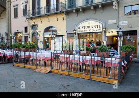 Restaurant on the Piazza della Signoria square, Florence, Tuscany, Italy, Europe - Stock Photo